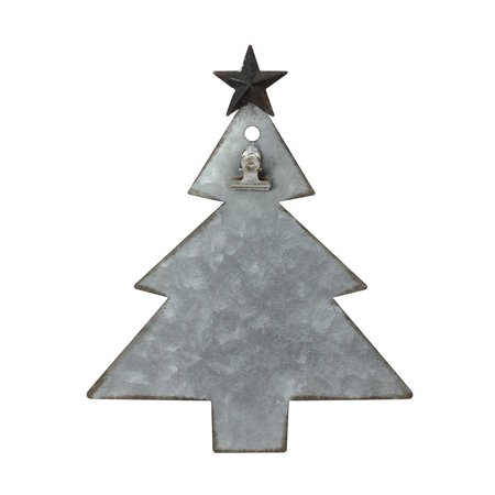 "9"" Galvanized Metal Tree with Clip Christmas Photo Holder Display Stand"