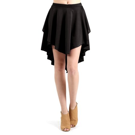 Evanese Women's Ice Tropical Asymmetrical Hi Lo Contemporary Cocktail Turn  Skirt XS, Black - Walmart.com