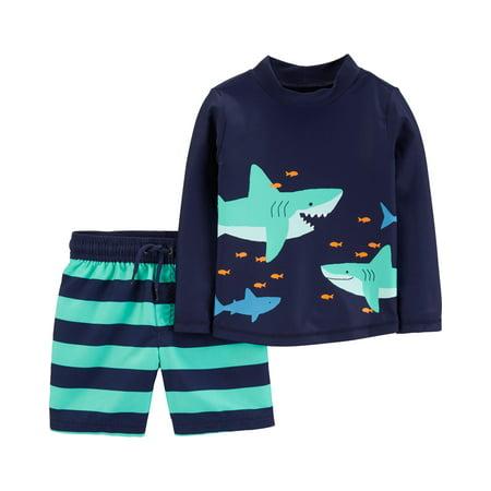 Child of Mine by Carter's Long Sleeve Rashguard and Swim Trunks, 2pc Swim Set (Toddler Boys) (Swim Seat)