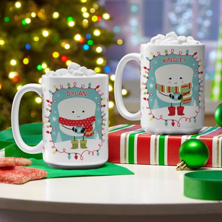 Personalized Lovable Marshmallow Holiday Coffee Mug - Green Scarf-Available in 2 Colors