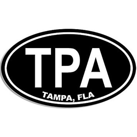 Black Oval TPA Tampa Fla Sticker Decal (city of decal bay fl florida) Size: 3 x 5 inch