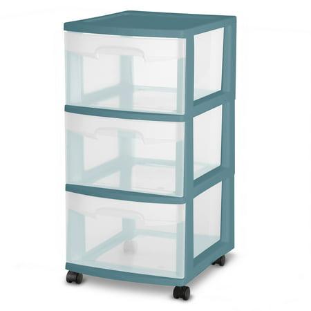 Sterilite 3 Drawer Medium Cart ,Cool Water