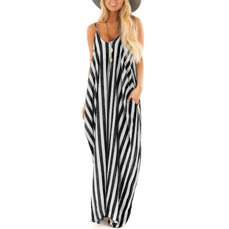 JustVH Women's V-Neck Striped Spaghetti Strap Maxi Dress Long Sundress with Pockets - Striped Maxi