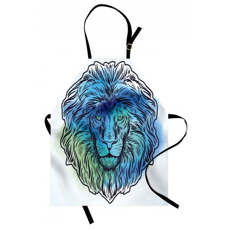 Lion Apron Artistic Lion Portrait with Digital Hazy Effect King of Forest Illustration, Unisex Kitchen Bib Apron with Adjustable Neck for Cooking Baking Gardening, Pale Blue Turquoise, by Ambesonne