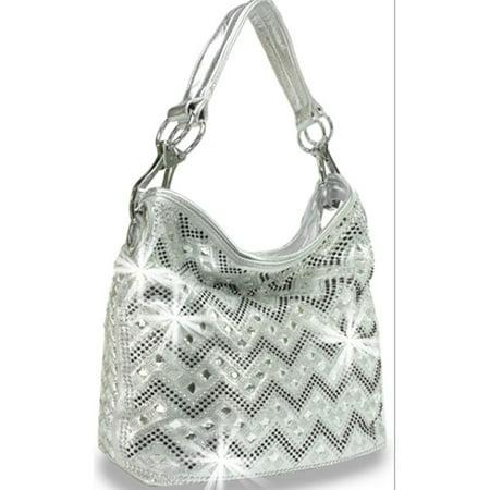 Zzfab Sparkle Gem Chevron Rhinestone Hobo Bag Silver