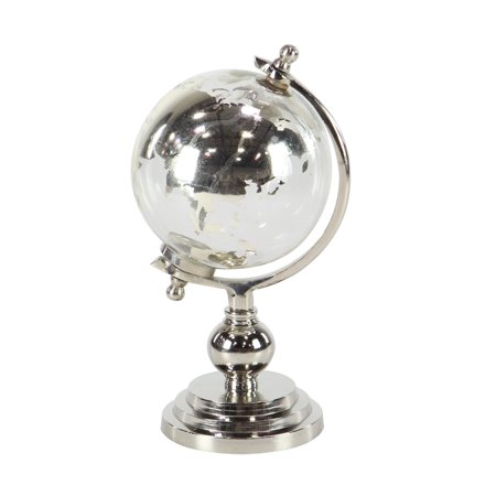 Decmode Eclectic 12 X 6 Inch Silver Glass And Aluminum Globe Sculpture