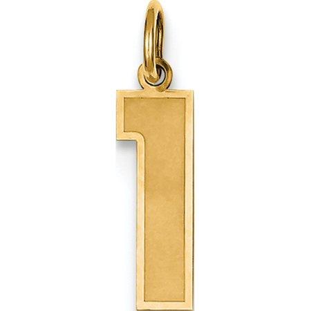 14k or jaune moyen satin num?ro 1 (5x20 mm) Pendentif / Breloque - image 2 de 2