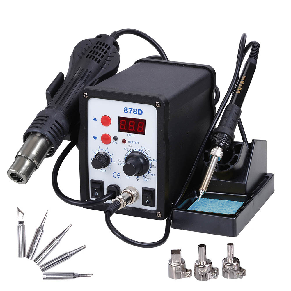 Portable SMD Hot Air Gun Soldering Rework Station Welding Solder Machine 852D+