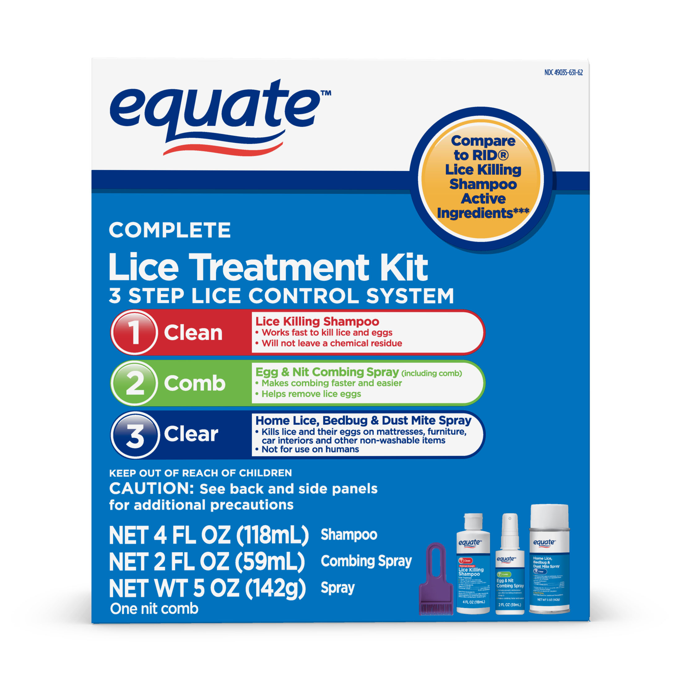 Equate 3-Step Lice Treatment Kit
