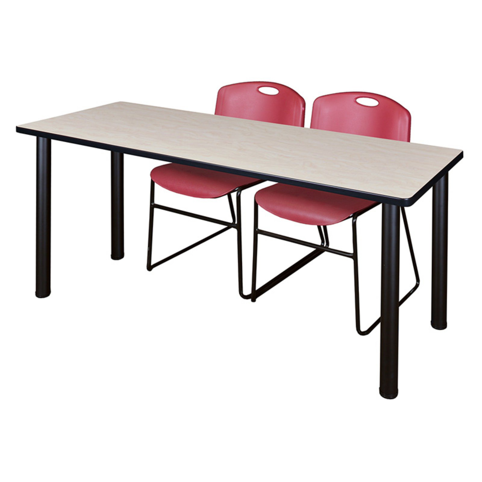 Regency Kee Maple Training Table with 2 Stackable Zeng Chairs