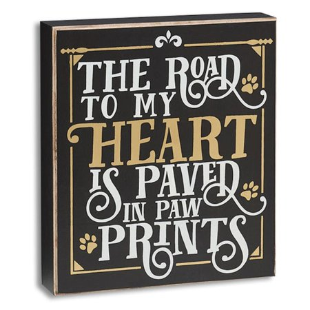 Discount Heart - Dog Cat Animal Lover The Road to My Heart is Paved in Paw Prints Hanging Standing Wood Box Sign Home Decor, Measures 7 inches by 8 inches By The Big Discount