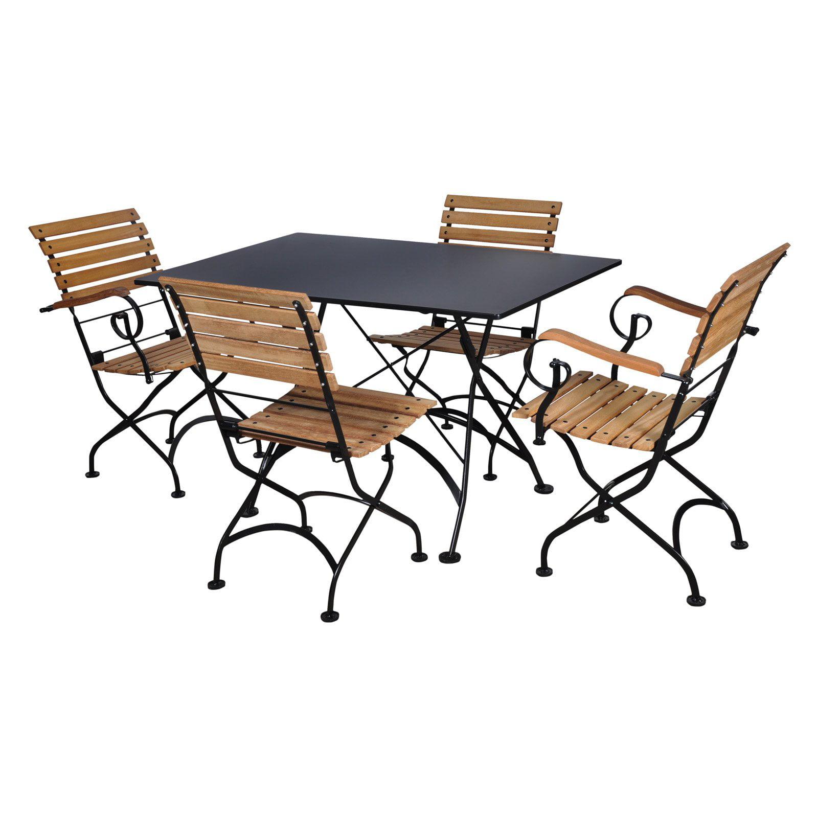 Furniture Designhouse French Cafe Bistro Teak Wood 5 Piece Rectangular Folding Patio Dining Room... by
