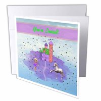 3dRose Glitter Look Castle with Fairy Princess, Unicorn, Birthday Party Invitation, Greeting Cards, 6 x 6 inches, set of 6