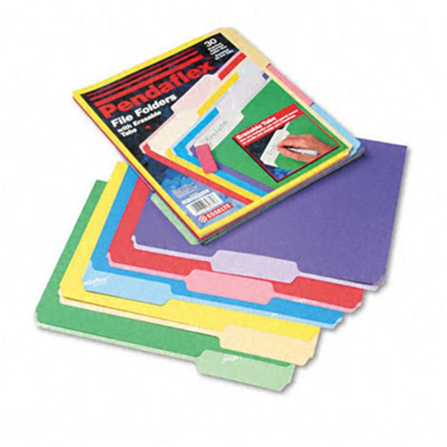 Pendaflex 84370 File Folders- Erasable Tabs- 1/3 Cut- Top Tab- Letter- Assorted- 30/Pack