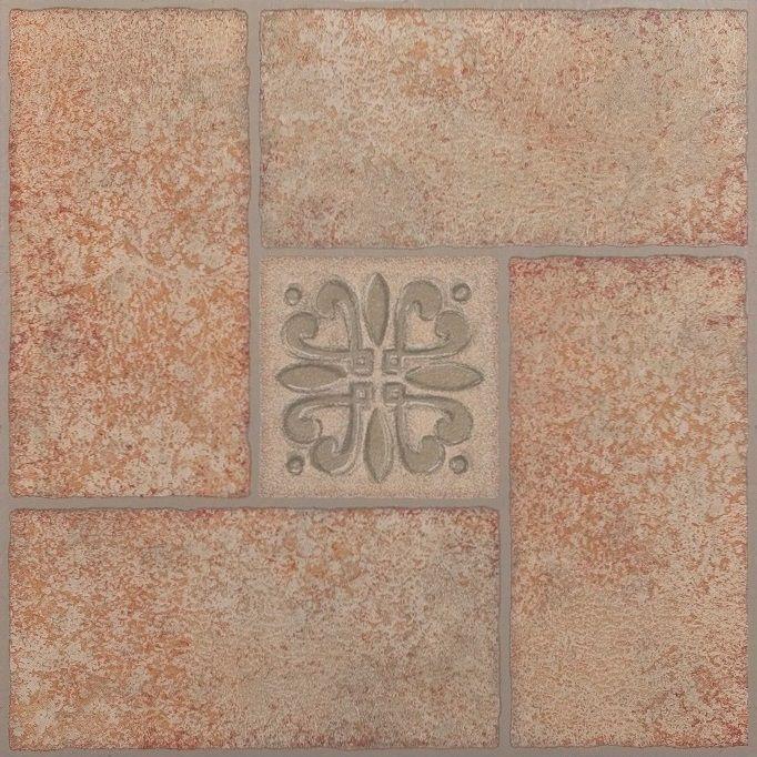 Achim Nexus Beige Terracotta Motif Center 12x12 Self Adhesive Vinyl Floor Tile - 20 Tiles/20 sq. ft.