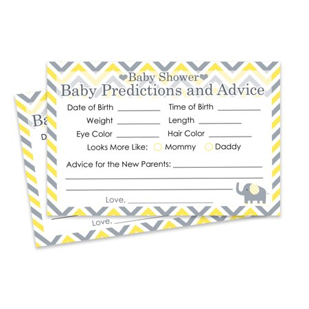 Yellow and Gray Elephant Baby Shower Predictions and Advice Cards, 20 Count (Gray And Yellow Baby Shower)