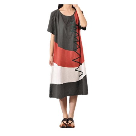 Women's Short Sleeve Loose Cotton Long Maxi - Long Sleeve Wet Look Dress