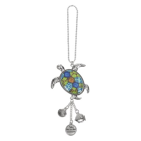Sea Turtle Ganz Car Charm with Dangle Charms and Ball Chain for Rearview Mirror - Car Balls