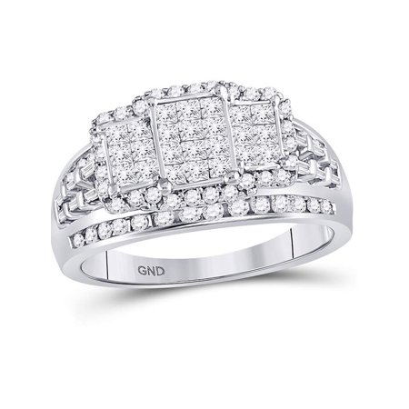 10kt White Gold Womens Princess Diamond Triple Cluster Ring 1.00 Cttw - image 4 of 4