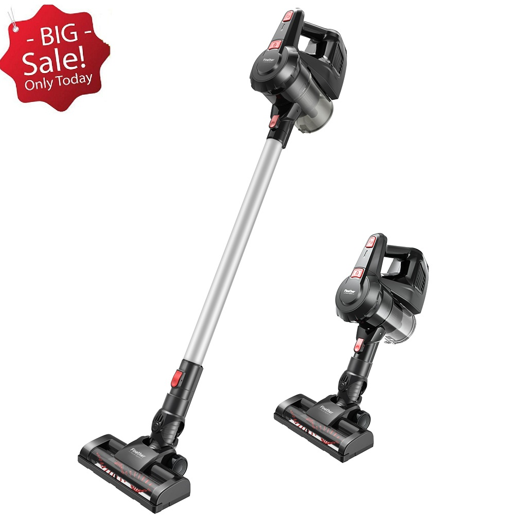 Finether Cordless Stick Vacuum Cleaner with 5 Attachments Wall-Mount for Multiple Surfaces, Lightweight & Corded, Gray