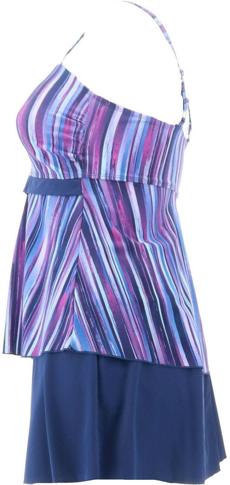 New Denim /& Co Beach Sweetheart Tankini with skirt Sz 20W Berry Paisley A350356