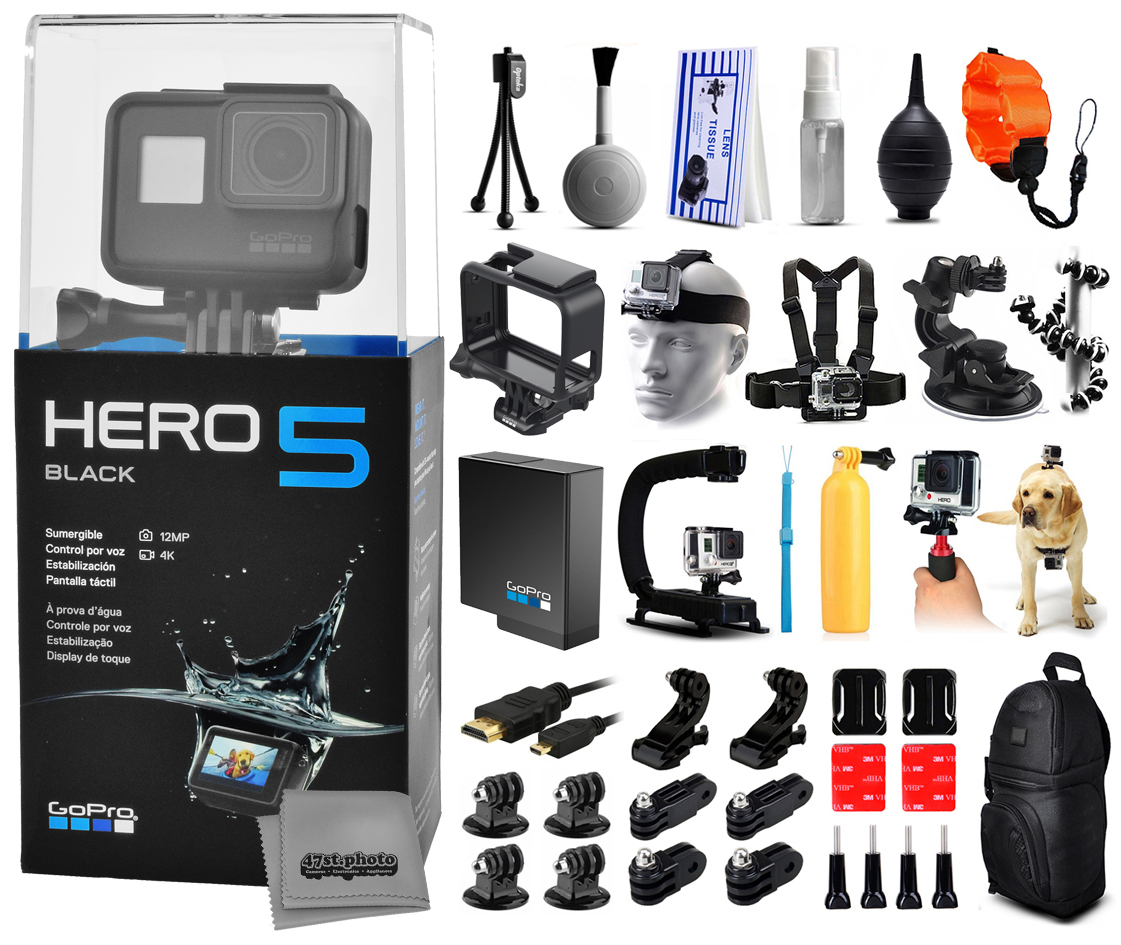 Buy GoPro Hero 5 HERO5 Black with Floating Strap + Deluxe Cleaning Kit + X-Grip Stabilizer + Car Suction Cup + Backpack by GoPro