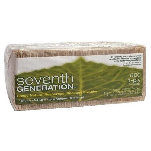 """Seventh Generation 100% Recycled Napkins - 1 Ply - 500 Per Pack - 500 / Pack - 11.50"""" X 12.50"""" - Brown (SEV13705)"""