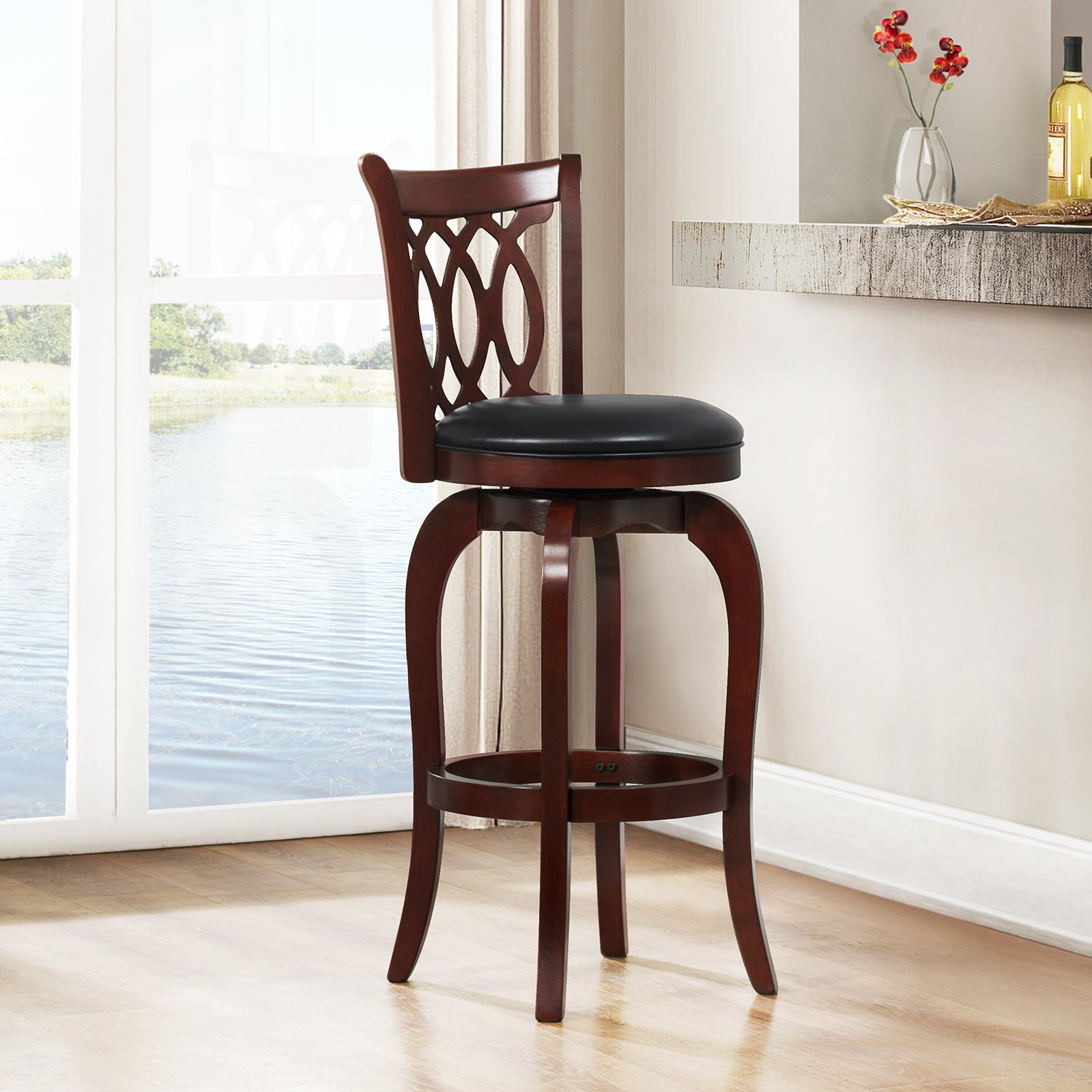 "29"" Shapel C-Back Swivel Bar Stool, Cherry"
