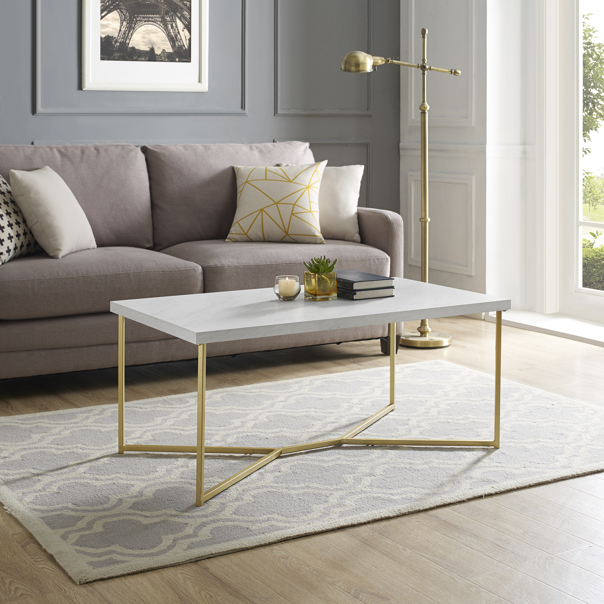 Modern 42 inch Y-Leg Coffee Table, White Marble/Gold