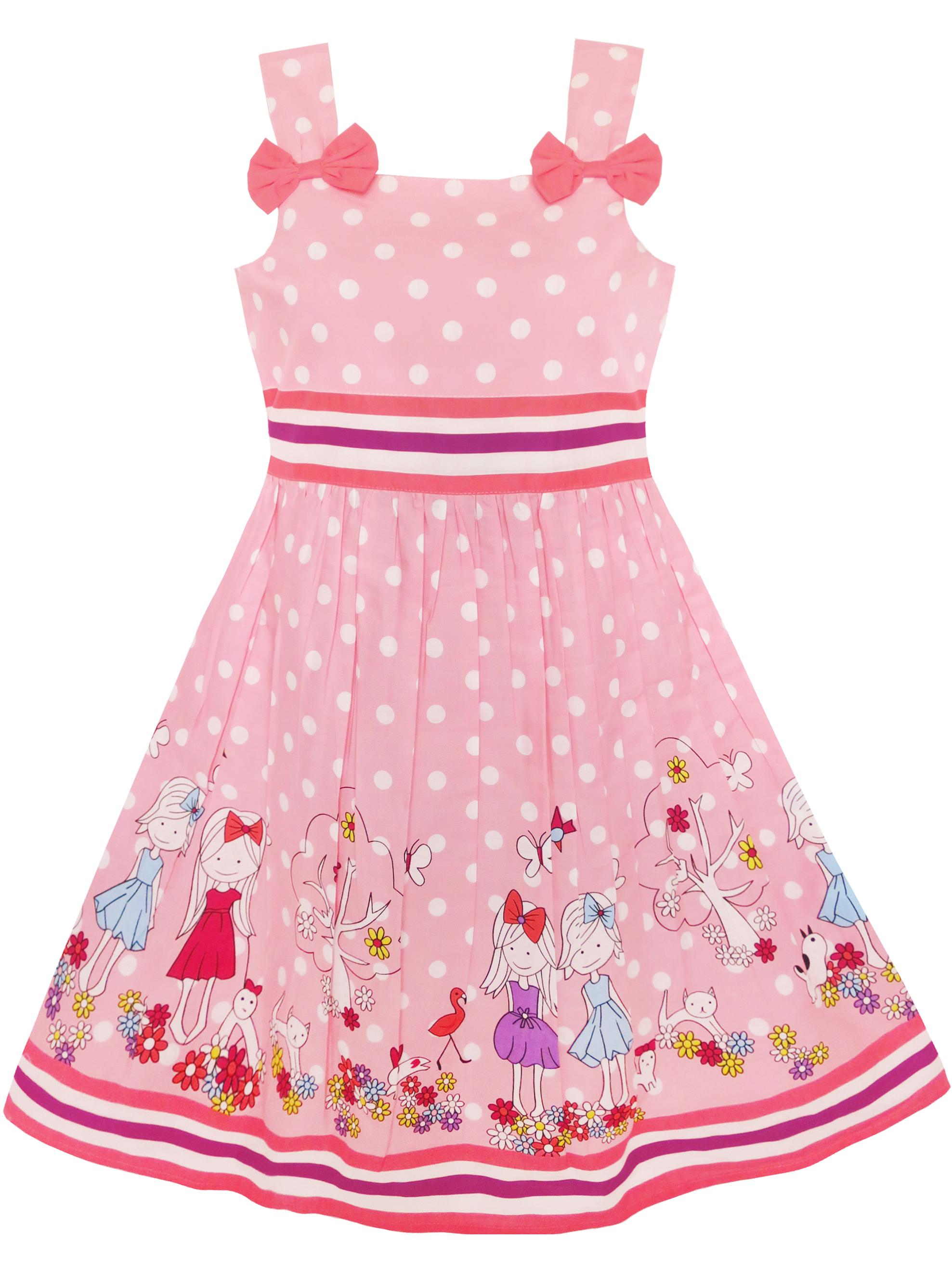 Girls Dress Blue Ladybug Pink Dot Children Clothing 2-3