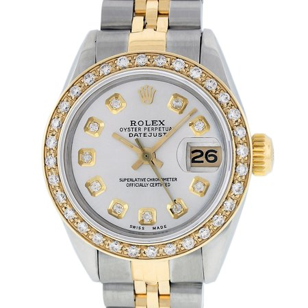 Pre-Owned Rolex Ladies Datejust Steel & 18K Yellow Gold Silver Diamond Watch Jubilee Quickset