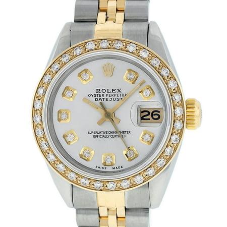 Pre-Owned Rolex Ladies Datejust Steel & 18K Yellow Gold Silver Diamond Watch Jubilee Quickset
