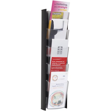 Wall Brochure Rack with 4 Pamphlet Sized Pockets, Black