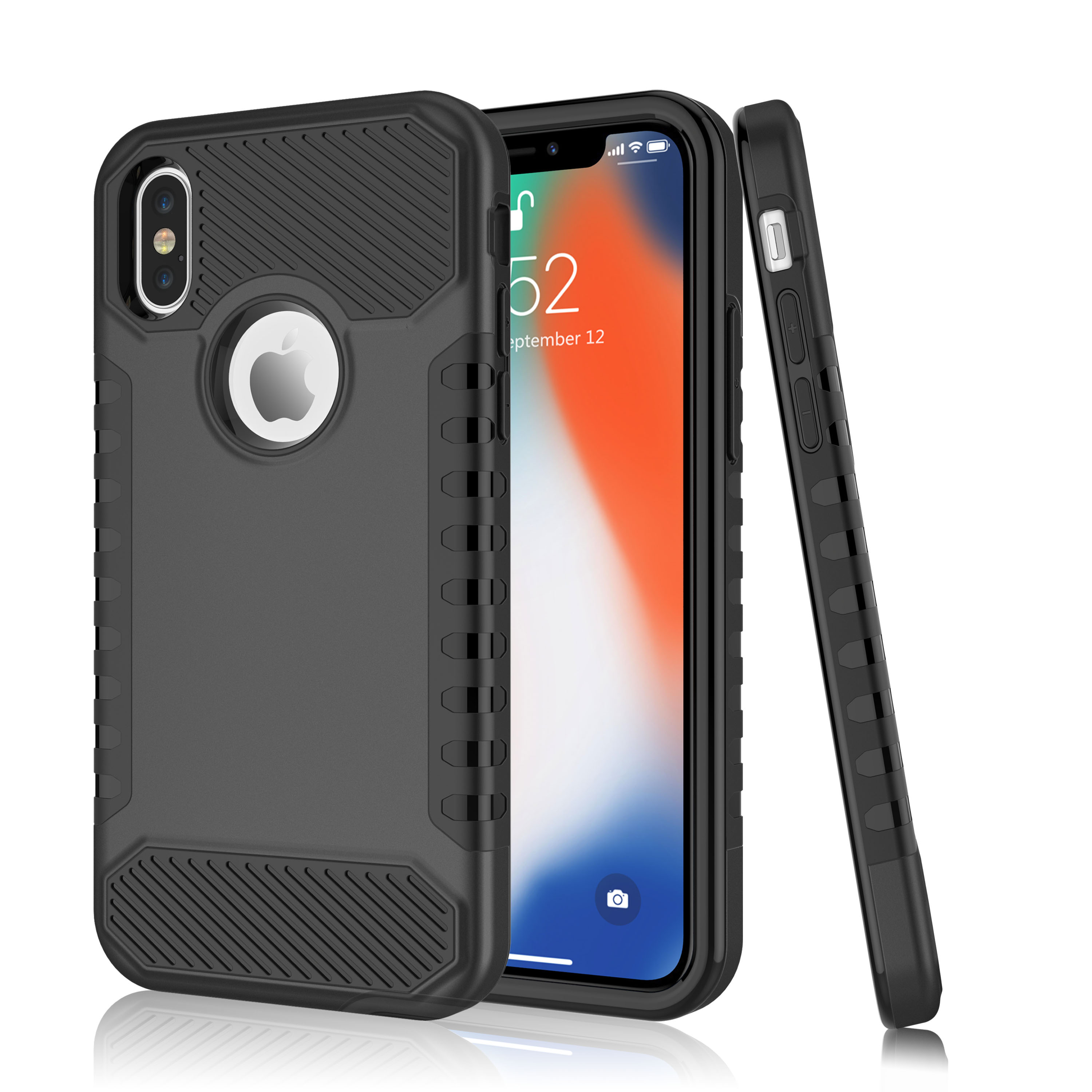 """iPhone X Case, iPhone 10 Case, iPhone X Edition Case, Tekcoo [TDarmor ] Heavy Duty [Black] Hybrid Protective Case For Apple iPhone X 5.8"""""""