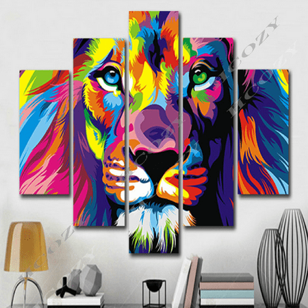 Canvas Wall Decor Art Painting Modern Home Picture Print NO Framed Lion 5 Panel (Framed Art Prints Paintings)