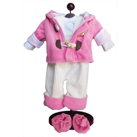 15   Bitty Doll Clothes For 15   Baby   Twins  Pink   Cream Overalls  Shirt  Jacket   Shoes
