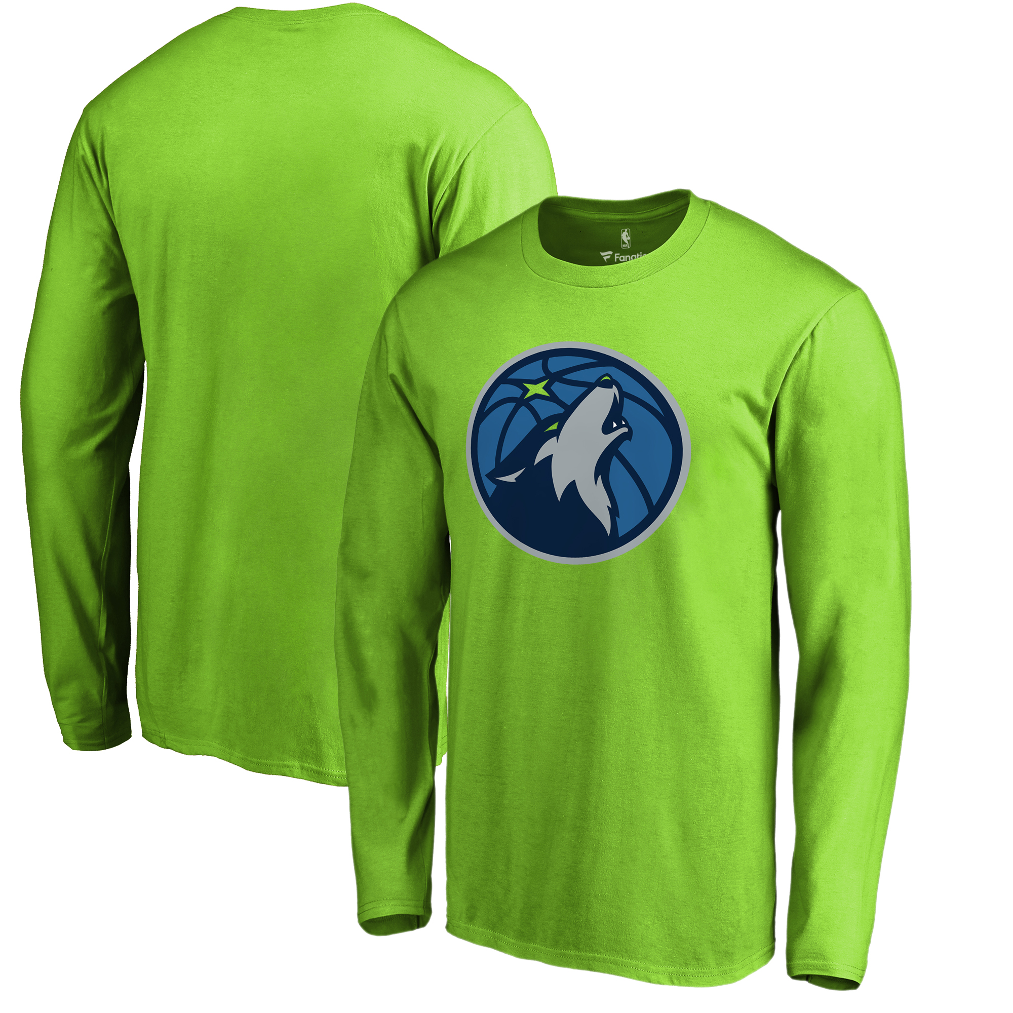 Minnesota Timberwolves Fanatics Branded Primary Logo Long Sleeve T-Shirt - Neon Green