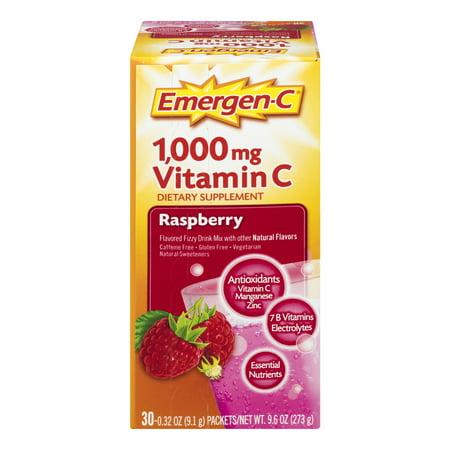 Emergen-C Drink Mix, Raspberry 1000mg Packets, 30ct