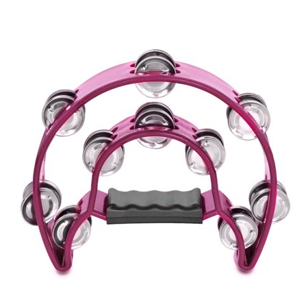 Half Moon Tambourine - Half Moon Musical Tambourine (Pink) Double Row Metal Jingles Hand Held Percussion Drum for Gift KTV Party Kids Toy with Ergonomic Handle Grip