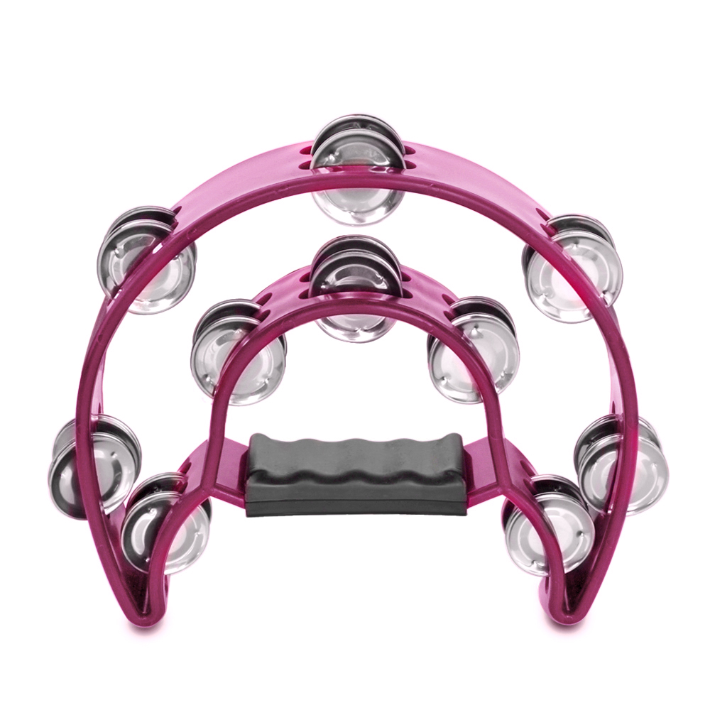 Half Moon Musical Tambourine (Pink) Double Row Metal Jingles Hand Held Percussion Drum for Gift KTV Party Kids Toy with Ergonomic Handle Grip