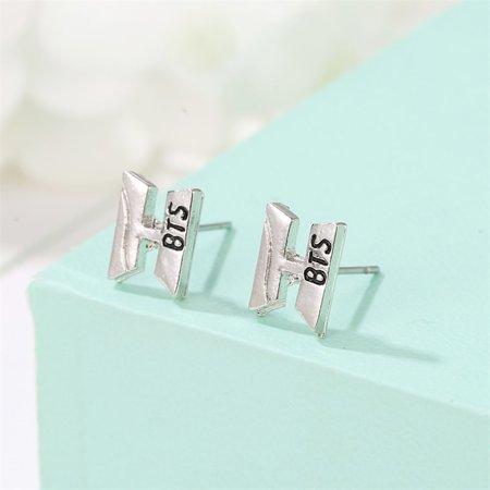 Women Temperament Personality Bst Letter H Earrings Women Fashion Personality Wild Earrings Jewelry - image 4 de 7