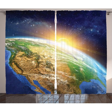 Outer Space Decor Curtains 2 Panels Set, Celestial View Of Sunrise Over The Planet Earth With Star Field Beyond Pacific Ocean View, Living Room Bedroom Accessories, By Ambesonne - Outer Space Decor