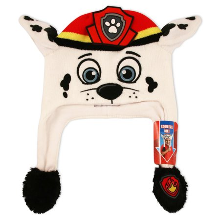 Nickelodeon Little Boys Paw Patrol Marshall Squeeze and Flap Fun Cold Weather Hat, Age 4-7