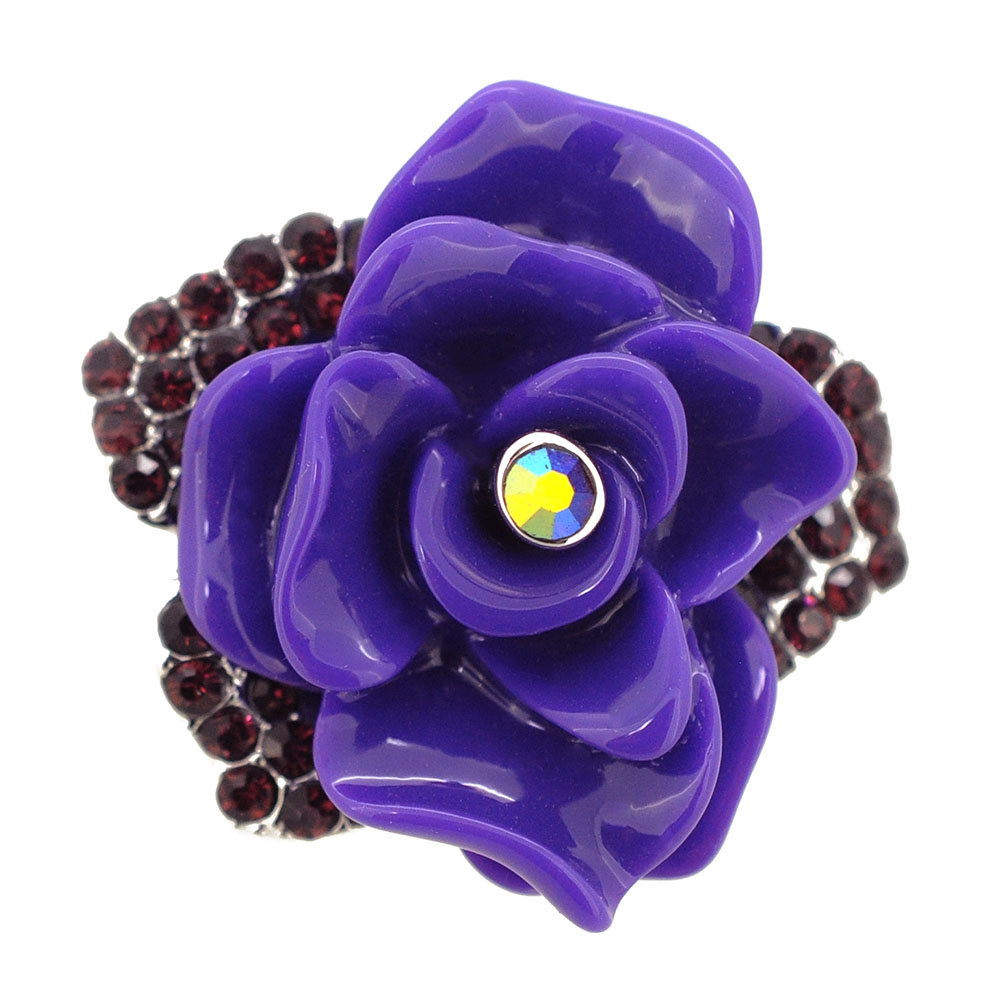 Dark Amethyst Purple Enamel Rose Pin Brooch by
