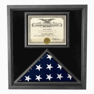 Flag and Certificate Case Black Frame, American Made - Flag Frames