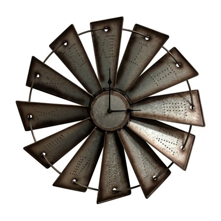 Gianna's Home Rustic Farmhouse Metal Windmill Wall Clock 18 1/2 in. ()