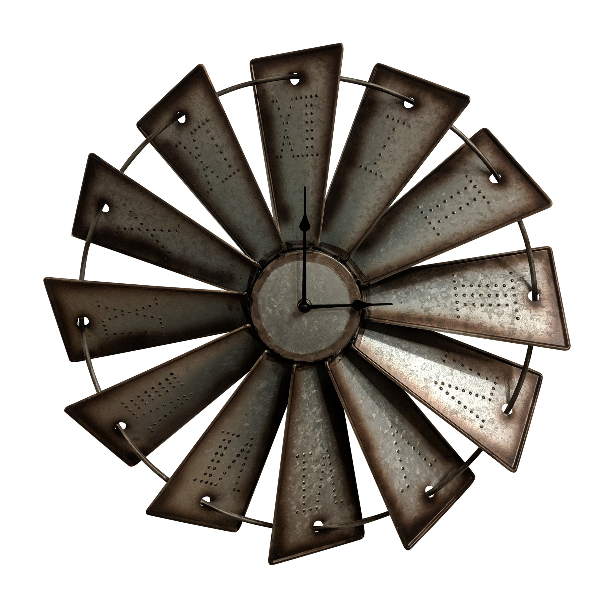 Gianna's Home Rustic Farmhouse Metal Windmill Wall Clock 18 1/2 in.