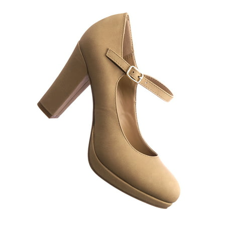 1-Ayden by City Classified, Comfy Foam Padded Vintage Chunky Block High Heel Mary Jane Pump - Mary Jane Pumps With Chunky Heel
