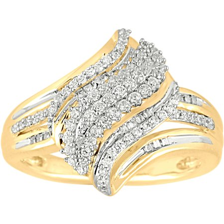 1 2 carat t w diamond 10kt yellow gold waterfall ring for Waterfall design ring