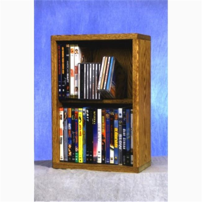 Wood Shed 215-12 Combo Solid Oak 2 Row Dowel CD-DVD Cabinet Tower